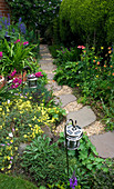 Amelia HEATH Garden, 1, CROSS VILLAS, SHROPSHIRE: Patio Beside THE HOUSE - LANTERN, GLADIOLUS COMMUNIS BYZANTINUS, ACONITUM, GRAVEL PATH with STEPPING STONES