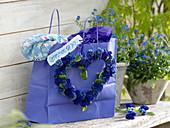 Herz aus blauen Primula Belarina 'Cobalt Blue' , 'Blue Sapphire'