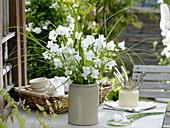 Strauß mit weißen Campanula persicifolia (Glockenblumen) und Spartina