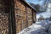 Gefüllter Holzschuppen im Winter