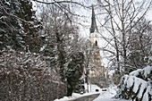 Blick durch verschneite Gehölze aus Kirche