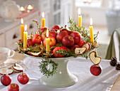 Schale mit roten Äpfeln und getrockneten Apfelscheiben (Malus)