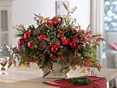 Weihnachtsstrauß aus Pinus (Kiefer), Abies (Tanne), Eukalyptus