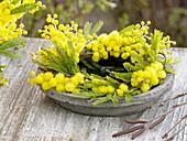 Duftender, gelber Kranz aus Acacia (Mimose) auf rustikalem Untersetzer