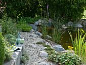 Weg aus Kies und Natursteinen am Teich