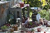 Marmelade aus roten und grünen Stachelbeeren