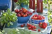 Tomaten in der Outdoor - Küche verarbeiten