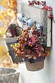 Kleiner Tontopf gefüllt mit Fruchtständen