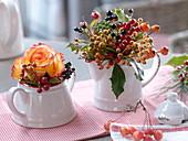 Zuckerdose und Sahnekännchen als Vasen