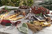 Legebilder aus Blättern und Früchten Zutaten - Tableau