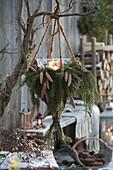 Ampel-Korb aus Salix (Weide) mit Kerzen, Zweige und Zapfen