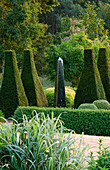 DAVID HARBER SUNDIALS: STAINLESS STEEL Obelisk SUNDIAL at PETTIFERS, OXFORDSHIRE, IN THE Parterre with YEW TOPIARY AND LOW Box HEDGING