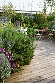 ROSE GRAY AND SCULPTOR DAVID MACILWAINE: VIEW ONTO THE DECKED ROOF TERRACE / ROOF Garden with PLANTS IN CONTAINERS INCLUDING Rosemary AND Metal TABLE with Green CHAIRS