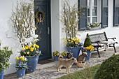 Hauseingang mit blauen Kübeln österlich