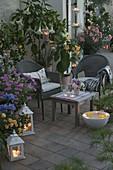 Abendterrasse mit Duftpflanzen und Lichtern