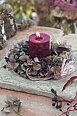 Kerzenkranz aus verbluehten Blüten von Hydrangea (Hortensie)