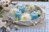 Metall - Tablett mit Dahlia (weissen Kaktusdahlien) und blauen Kerzen