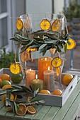 Großes Windlicht aus Glas mit Citrus (Orangenscheiben)