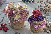 Herbstblueten und Herbstfrüchte in kleinen Toepfen mit Rupfen umwickelt