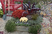 Beet mit Holzeinfassung bepflanzt mit Kräutern, Stauden und Gemüse