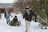 Familie holt Weihnachtsbaum mit dem Schlitten