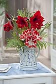Rot-weisser Wintertrauss aus Hippeastrum 'Samba' 'Royal Red' (Amaryllis)