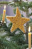 Selbstgemachter Christbaumschmuck aus Mais und Bohnen