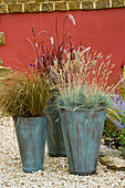 GROUP of THREE CONTAINERS PLANTED with Ornamental GRASSES Carex, PENNISETUM AND FESTUCA GLAUCA STAND IN GRAVEL IN Front of Red WALL. CONTAINERS by Green INTERIORS.
