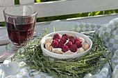 Schnelle Nachspeise mit Himbeeren (Rubus) auf Sahne und Löffelbiskuit