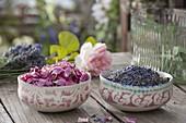 Schalen mit Bluetenblaettern von Rosa (Rosen) und Lavendel (Lavandula)