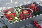 Einmachgläser als Windlichter mit Kerzen und Beeren von Sorbus