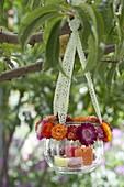 Glas mit Blüten-Kranz aus Xerochrysum bracteatum syn. Helichrysum