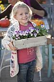 Mädchen trägt kleinen Kasten mit Viola cornuta Twix 'Lilac Wing'