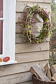Herbstkranz aus Ranken von Clematis (Waldrebe) und Hedera (Efeu)