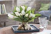 Stehstrauss aus weissen Tulipa (Tulpen) mit Zwiebeln