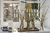 Kleine Straeusse aus verschieden-farbigen Zweigen von Cornus (Hartriegel)
