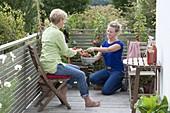Frauen bei der Tomatenernte auf dem Balkon