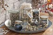 Gläser mit gesammelten Samen von Stauden, Sommerblumen und Gemüse
