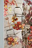 Drahtkoerbe mit Gläsern als Windlichter, an Wand gehängt und mit Herbstlaub