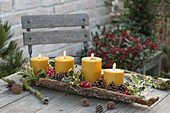 4 gelbe Kerzen in Rinde, geschmückt mit Ilex (Stechpalme), roten Beeren