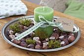 Flache Metall-Schale mit Aesculus (Kastanien), Moos und grüner Kerze