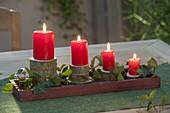 Ungewoehnlicher Adventskranz aus Astscheiben mit roten Kerzen und Hedera