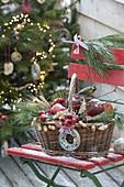 Körbchen gefüllt mit Äpfeln und Zieraepfeln (Malus), Schlehen (Punus