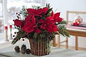 Weihnachtstrauss in Vase mit Verkleidung aus Zimtstangen