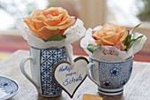 Einzelne Blüten von Rosa (Rosen) mit Tortenspitze in Tassen