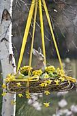 Hängendes Osternest mit Kranz aus Salix (Weide), gefüllt mit Ostereiern