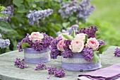 Duftende Blumentorten aus Syringa (Flieder) und Rosa (Rosen)