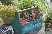 Gartenwerkzeugkiste mit Buegelgriff : Töpfe, Bürste, Handschaufel