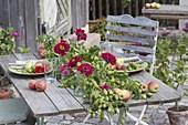 Gedeckter Tisch mit Humulus lupulus (Hopfen) in der Tischmitte
