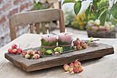 Kleine Kerzendeko mit Malus 'Van Eseltine' (Zieräpfeln)